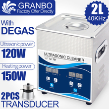 2L 120W Digital Ultrasonic Cleaner Heater Degas Stainless Steel Bath Home Use Jewelry Glasses Spark Plug Bead Carving Rust Oil