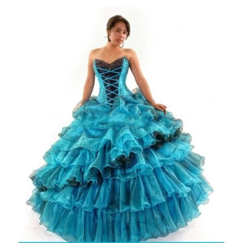 Special Black And Blue Quinceanera Dresses Organza Beaded Sweet 15