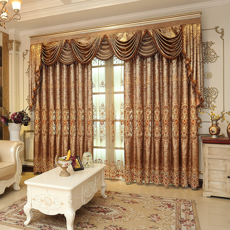 European Classics Curtains For Living Room,black-out Curtain For Bedroom,luxury Embroidery Tulle Curtains Villa French Curtain