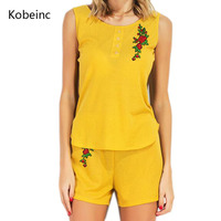 Kobeinc Women Two Pieces Set Summer Yellow Sleeveless T Shirt And Shorts Flower Embroidery Casual Tracksuit