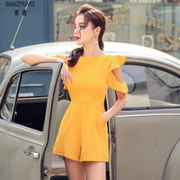 GUUZYUVIZ Rompers Womens Jumpsuit Casual Ruffles Strapless Yellow Bodysuit Women Summer Wide Leg Shorts Jumpsuits