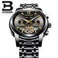 Роскошные полностью черные мужские полностью стальные часы Tourbillon с автоподзаводом многофункциональные часы с календарем наручные часы по...