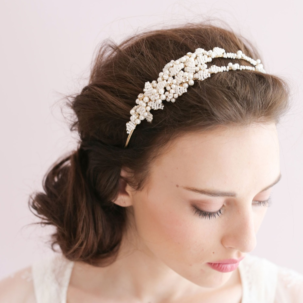us $26.0 |dower me handmade beads pearl wedding tiara bridal headband hair accessories white headpiece-in hair jewelry from jewelry & accessories on