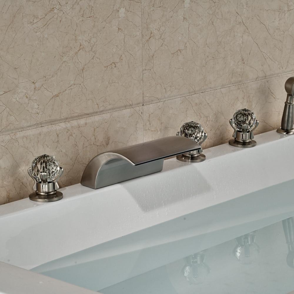 5pcs Bathroom Tub Faucet Brushed Nickle Shower Set W Handheld