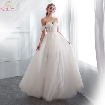 Summer Dress Wedding 2020 Walk Beside You Cut Out Champagne White Bridal Gowns Off Shoulder Sweetheart Dot Tulle Lace Appliqued