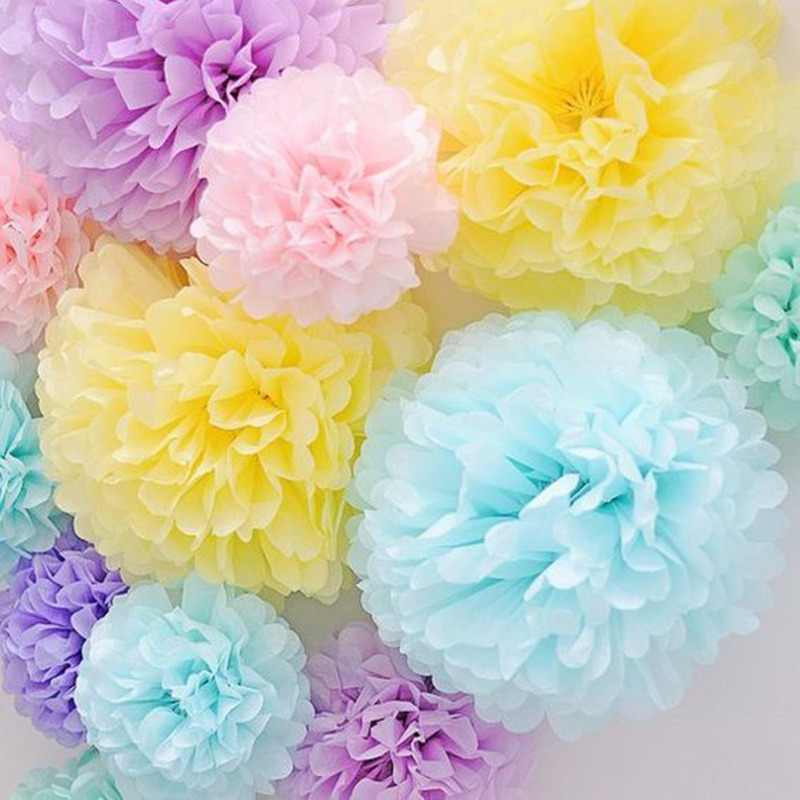 Wedding Decoration 5pcs Pom Poms 20cm Tissue Paper Artificial Flowers Ball Baby Shower 1st Birthday Party Decoration Supplies