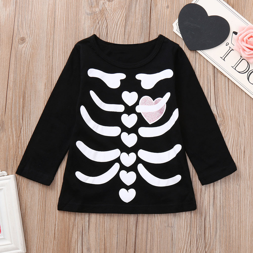 2018 New Fashion Toddler Infants Baby Boys Girl Skeleton Print Tops Halloween Costume Outfits Set in Clothing Sets from Mother Kids