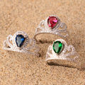 Danki Brand Created Emerald Ring Charming Jewelry Women Classy Imitation Sapphire Cocktail Party Ring Valentine's Day Gift