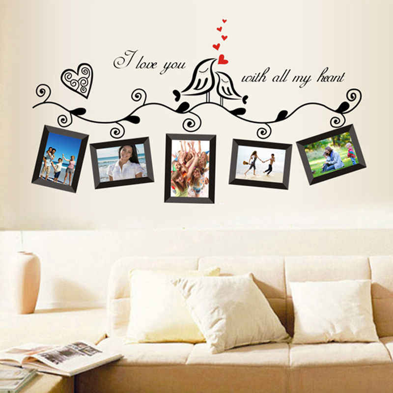 Photo Frame Family Tree Bird Removable Quotes Wall Decal Sticker Room Home Decor