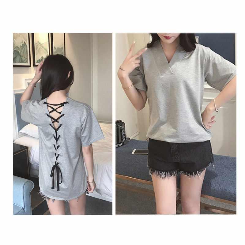 XXXL 5XL летняя футболка больших размеров женская футболка однотонная с v-образным вырезом короткий рукав закругленный подол длинная футболка Повседневный Топ Женская туника