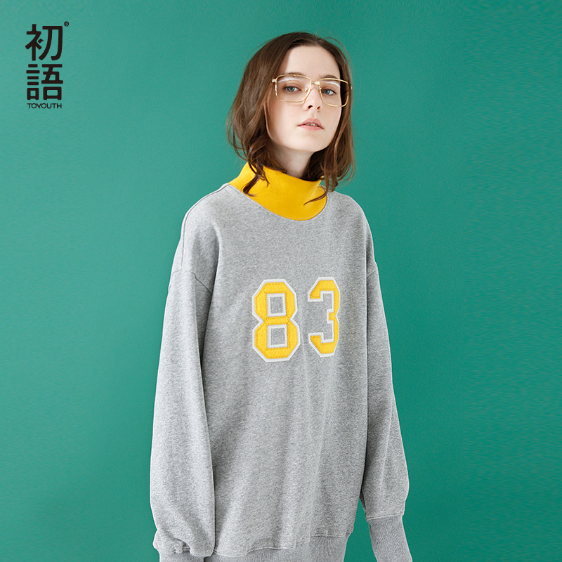 Toyouth Women Sweatshirts 2019 Spring New Arrivals Loose Long Embroidery High Neck Casual Female Sweatshirt