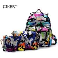 CIKER Brand 3pcs Set Camouflage Printing Backpack Women Leather Backpacks For Teenage Girls School Bags Travel