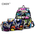 CIKER Brand 3pcs/set camouflage printing backpack women leather backpacks for teenage girls school bags travel bag mochila mujer