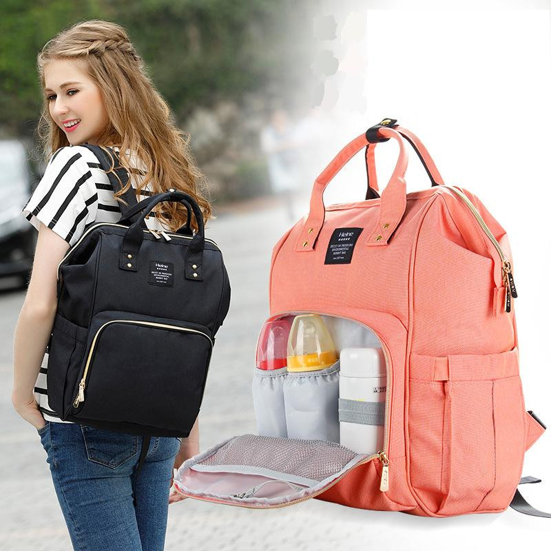 Hot New Mother Multi Functional Large-Capacity Mummy Bag Baby Out Leisure Shoulder Mummy Vesker Solid New Fashion Mother Backpack
