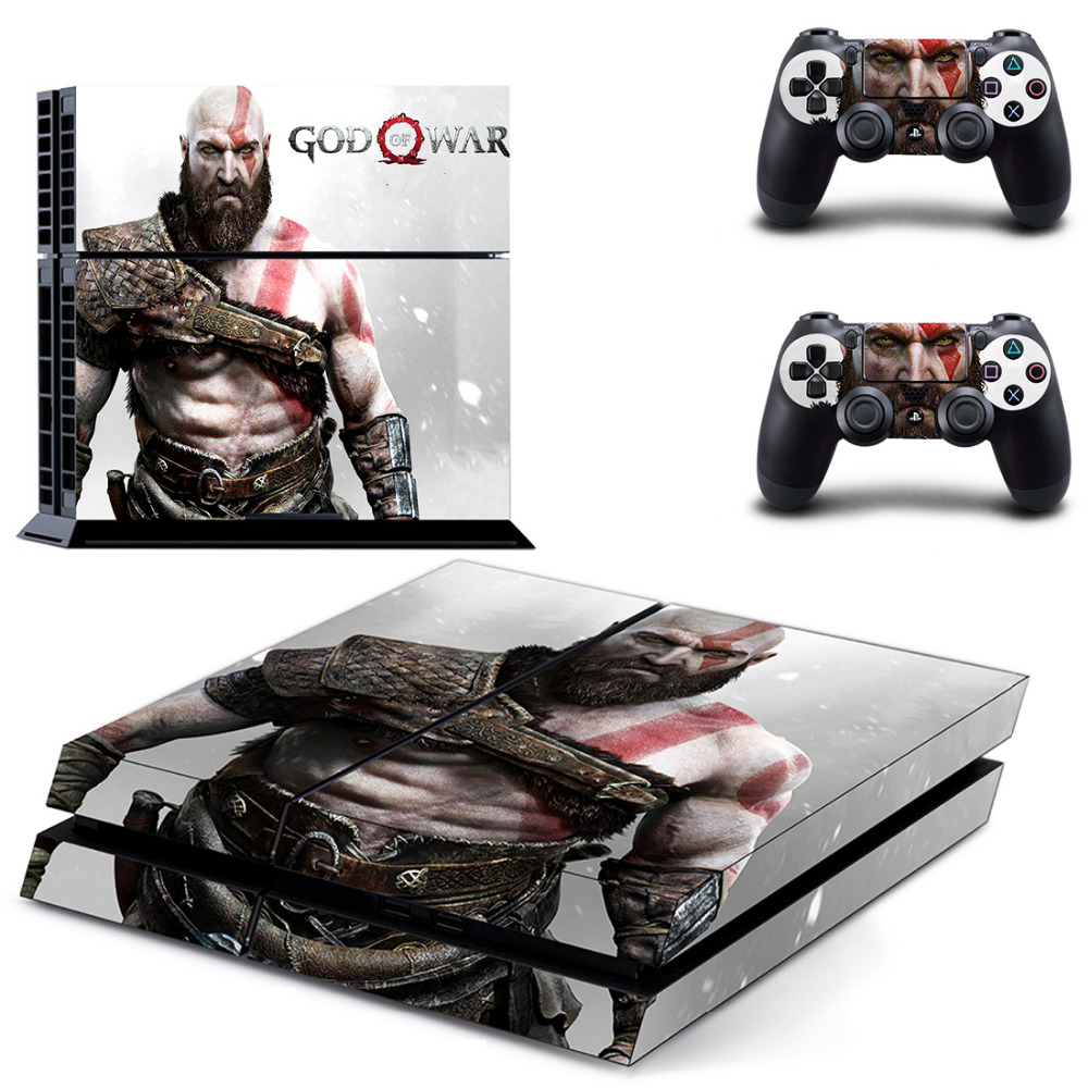 God of War Design Decal Skin Cover For Playstaion 4 Console PS4 Skin Stickers+2Pcs Controller Protective Skins image