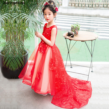 hot deal buy flower girl dresses for weddings 2018 beading appliqued pageant dresses for girls first communion dresses kids prom dresses