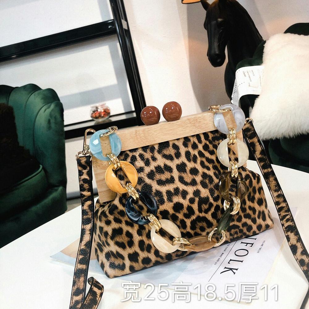 Vintage léopard en bois Clip sacs pour femmes acrylique perle épaule bandoulière sacs embrayage sac à main dame Designer luxe Bolsa Mujer