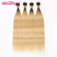 Wonder girl Ombre Hair Bundles T1B/613 Honey Blonde Straight Hair Bundles 100% Human Hair Extension Brazilian Hair Weave Bundles
