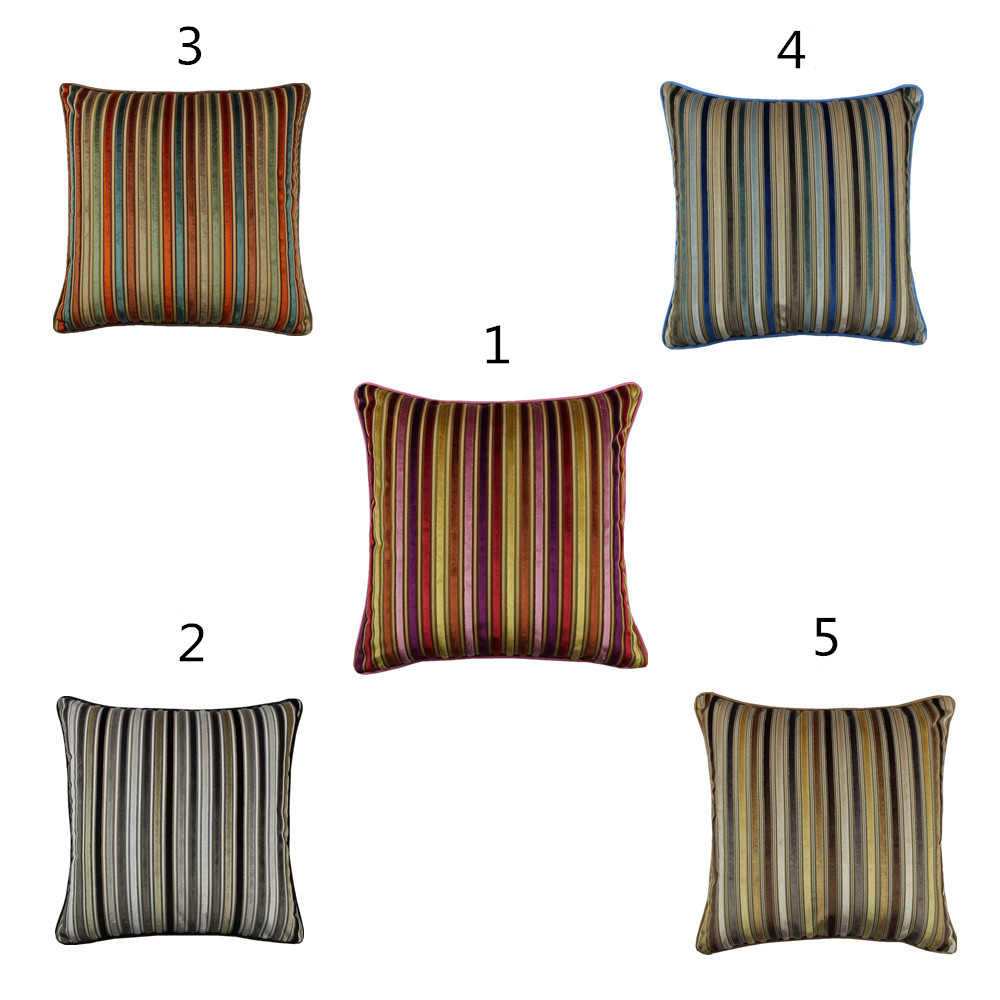 Cojines Chocolate Colorful Stripes Velvet Cushion Cover Polyester Cotton