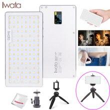 Iwata Bolso LEVOU Luz Fotografia Luz de Vídeo Display OLED Telefone Ultra Fino Alumínio CRI96 + Regulável 3000 k 5500 K w/Bateria & Tripé