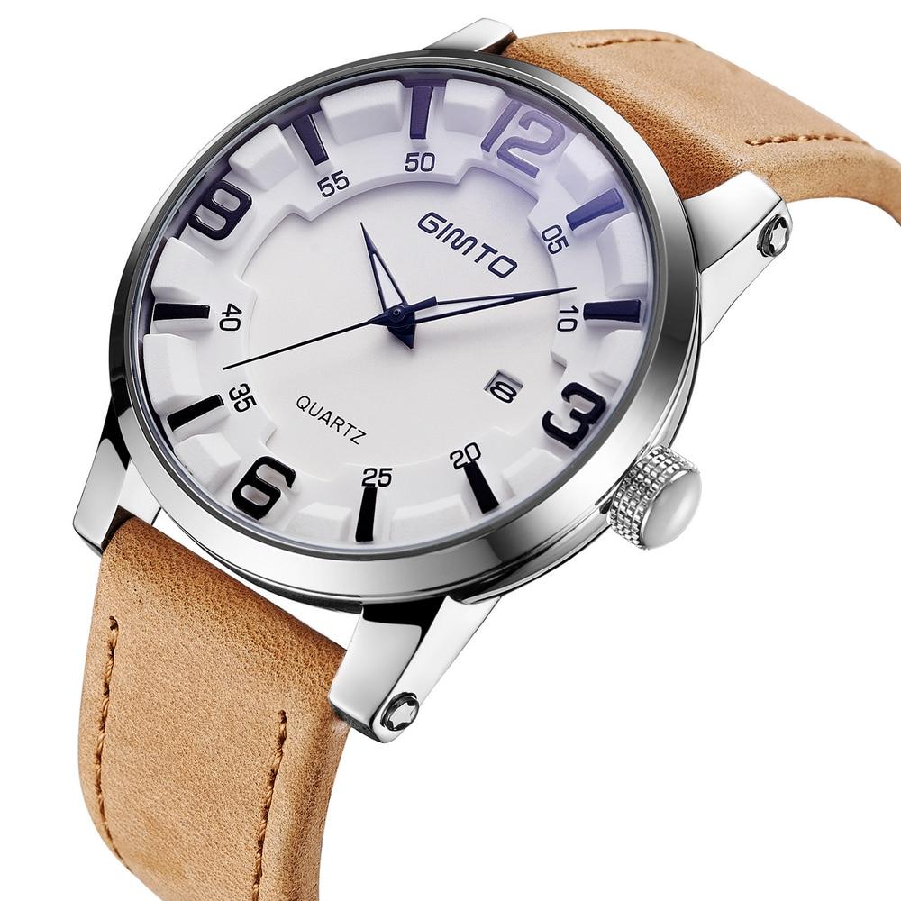 GIMTO Top Brand Luxury Men Watch Leather Military Male Watches Big Dial Calendar Quartz Wristwatch Sport Clock Relogio Masculino