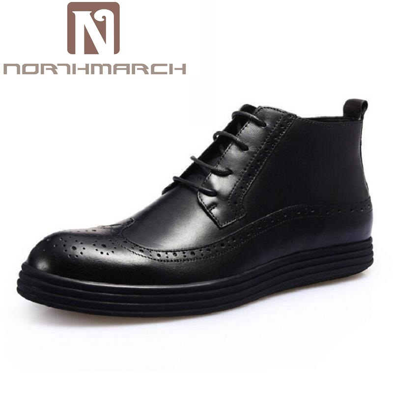 NORTHMARCH Men Boots Cow Leather Men Ankle Boots Lace-Up Top Quality Men Brogue Shoes British Retro Winter Men Shoes Sapatos 2018 top quality men mixed color embroidery shoes low top lace up sneaker rhinestone crystal sapatos men casual shoes