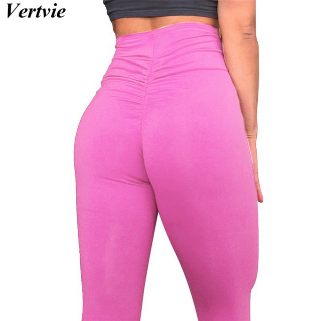 e93867522daa0 Sexy Hot Yoga Pants pink Sports leggings Women's Workout Apparel Tights Gym  Push Up High Waist Fitness Trousers Training pants