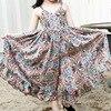 Summer Chiffon Dresses For Girl Children Clothing Print Floral Beach Girl Dress Bohemian Jumpsuits Maxi Teenager