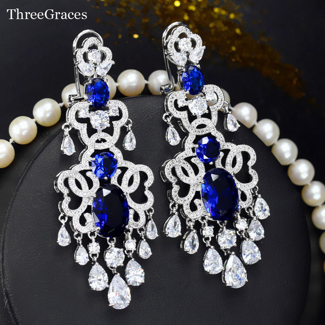 Threegraces Famous Brand Vintage Royal Blue Bridal Jewelry Luxury Cubic Zirconia 7 Cm Long Chandelier Earrings