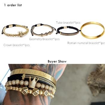 Classical Handmade Braiding Gold Hip Hop Men Pave CZ Zircon Crown Roman Numeral Bracelet 1