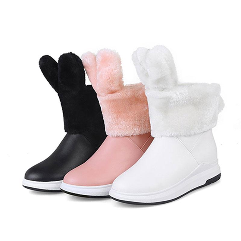 Flock Chaud Femelle Sur Bottes Compensés Chaussures Neige Glissement Dames Épais pink Cheville Fanyuan De Talons White Hiver Fourrure Plateforme Bas Femmes black qxwEcF7a