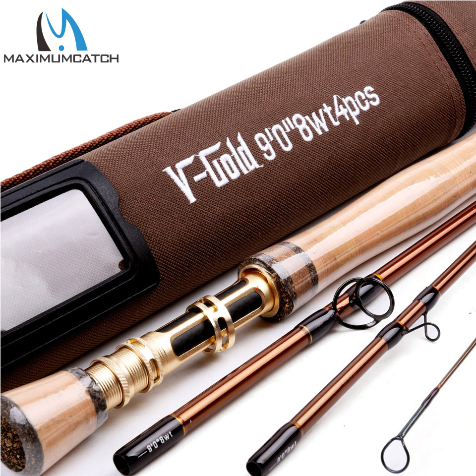 Maximumcatch New Fly Fishing Rod SK Carbon Fiber 9FT 8WT 4PCS Fast Action With Aluminum Tube Fly Rod