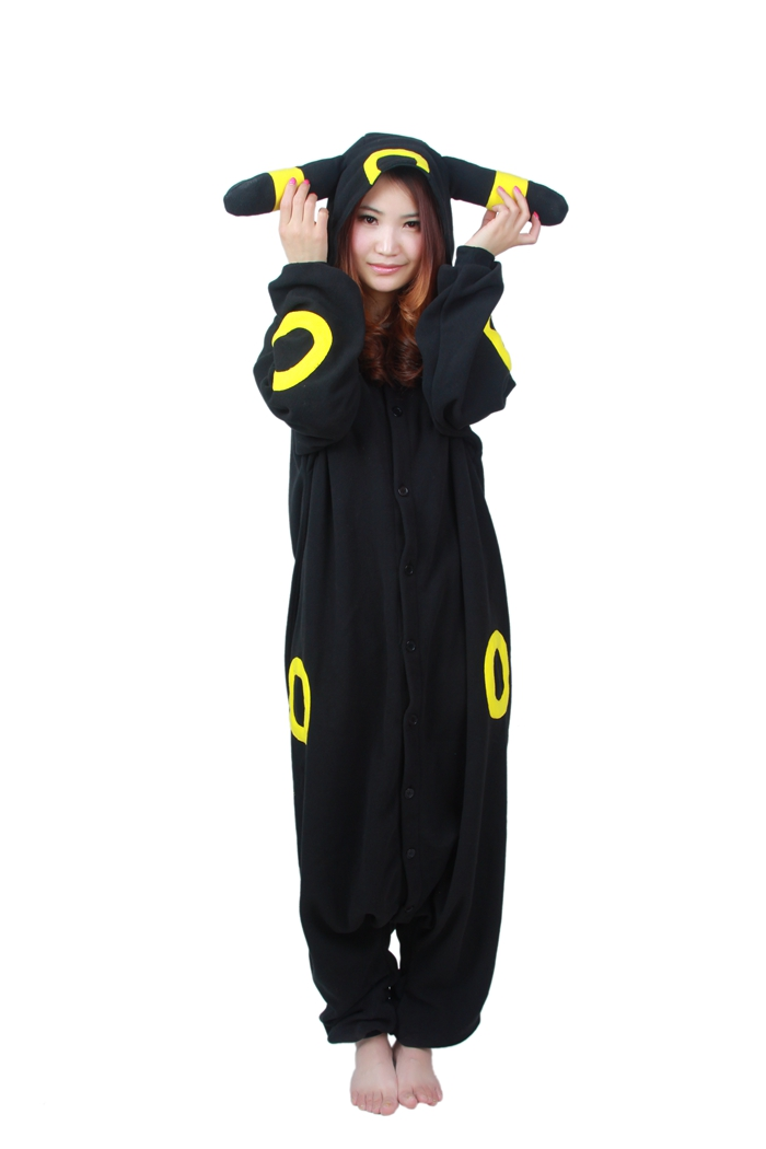 Unisex Fleece Adult Umbreon Onesies Animal Cosplay Costume Halloween Xmas Pajama ...