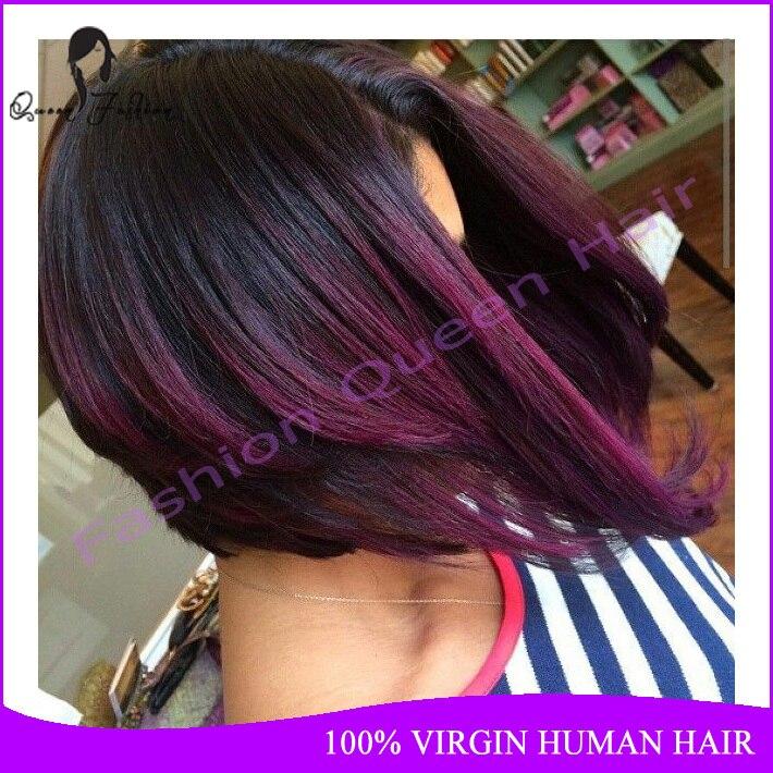 Straight Bob Short Ombre Human Hair Wig Full Lace For Black Women 1b Purple Brazilian Virgin Glueless In Wigs From
