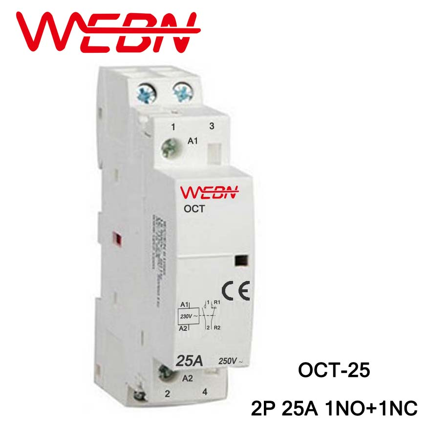 OCT Series AC Household Contactor 230V 50/60Hz 2P 25A 1NO+1NC One Normal Open and Close Contact Din Rail