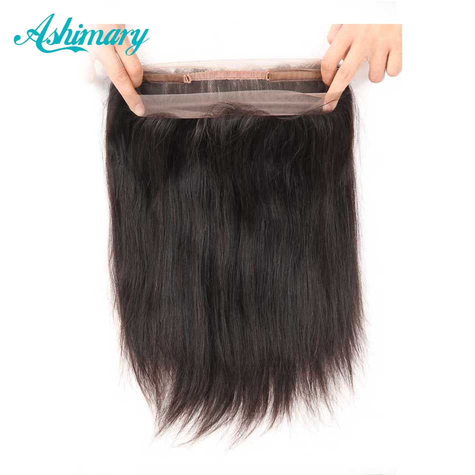 Ashimary Malaysian Remy Straight Hair Pre Plucked 360 Lace Frontal With Baby Hair Natural Color 100% Human Hair Free Shipping