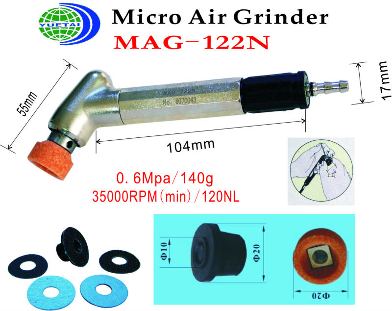 angle air   die grinder (MAG-122N)  35,000RPM  Collet Size: 20mm  0.6MPa 140g air die grinder mag 094n air tools max free speed 23 500rpm