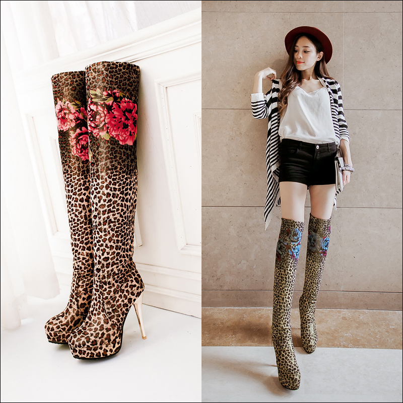 Sexy Leopard Women Tall Boots 2015 Autumn Winter Girls -4083