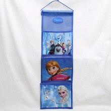 Детский плюшевый рюкзак Принцессы Диснея, висячая сумка для хранения, маленькая сумка для хранения одежды Эльзы из мультфильма «Холодное сердце», сумка для сортировки на стену, дверь, задний карман
