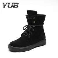 YUB Brand Winter Boots Lace Up Flock High Top Casual Snow Boots For Women 2 Colors