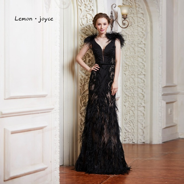 Lemon joyce Black Evening Dresses with Feathers 2019 Sexy V-neck Backless  Party Prom Gown Formal Evening Dress Robe De Soiree 63b481270e33