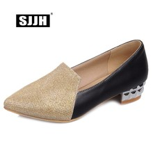 SJJH 2018 Women Casual Patchwork Pumps with Point Toe Low Chunky Bling Mixed Colors Fashion Working Formal Shoes Large Size Q068