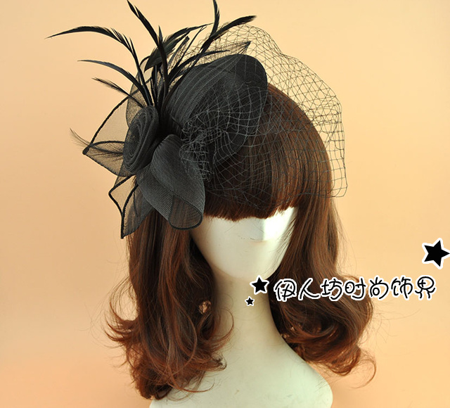 Black Fascination Hat Feather Birdcage Veils Black Wedding Veil Princess  Wedding Vintage Hats Woman 430c59a14063