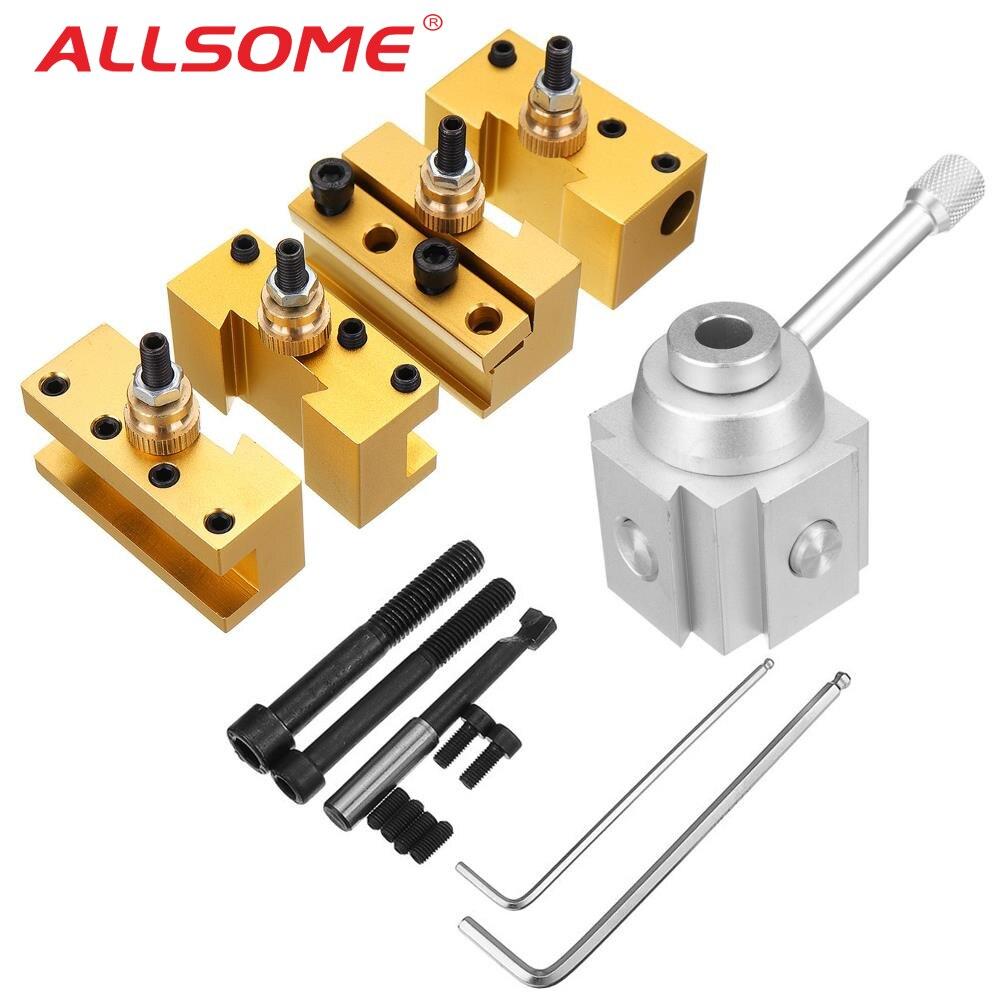 ALLSOME Quick Change Post Holder Kit Set Boring Bar Turning Tool Holder For CNC Mini Lathe