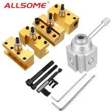 ALLSOME Quick Change Post Holder Kit Set Boring Bar Turning Tool Holder For CNC Mini Lathe HT2427