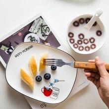 8 Inch Nordic Rectangle Ceramic Plate Cartoon Porcelain Dinner Western Steak Fruit Dessert Tray Nuts Snack Dishes