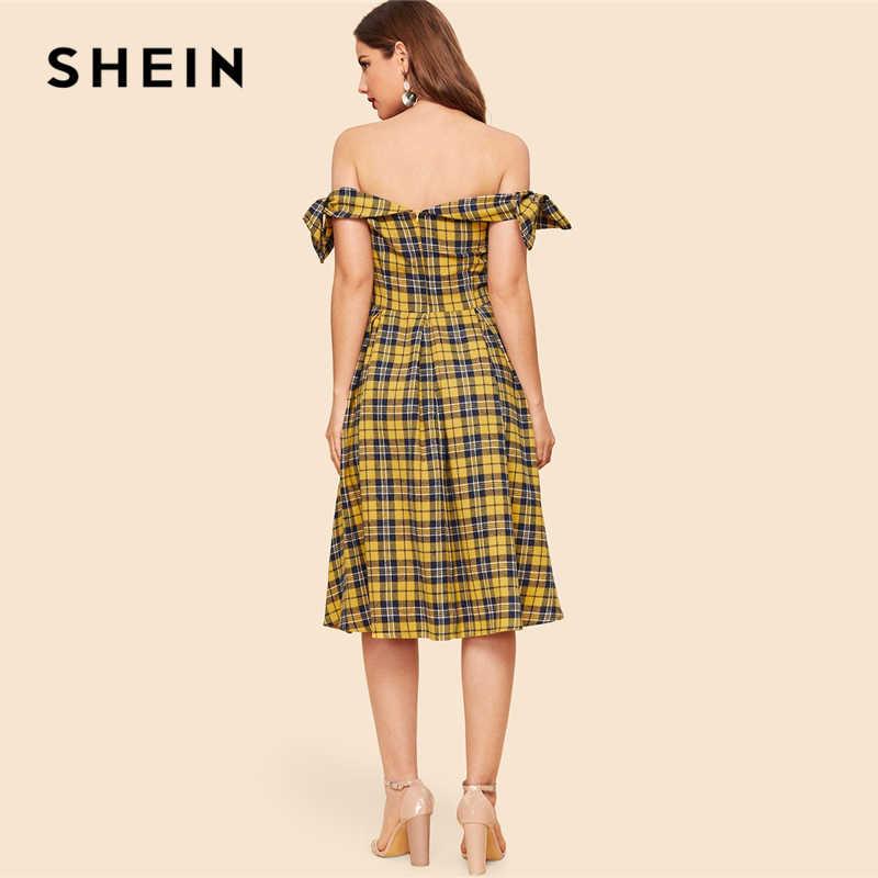 SHEIN винтажное разноцветное клетчатое платье с бантом и оборками, с открытыми плечами и расклешенным платьем, Женские Элегантные платья трапециевидной формы