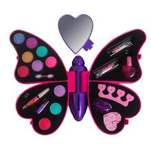 Butterfly Children Cosmetics Set Safe Non-toxic Girl Princess Makeup Eyeshadow Lip Gloss Kit Pretend Play Education Toy(China)
