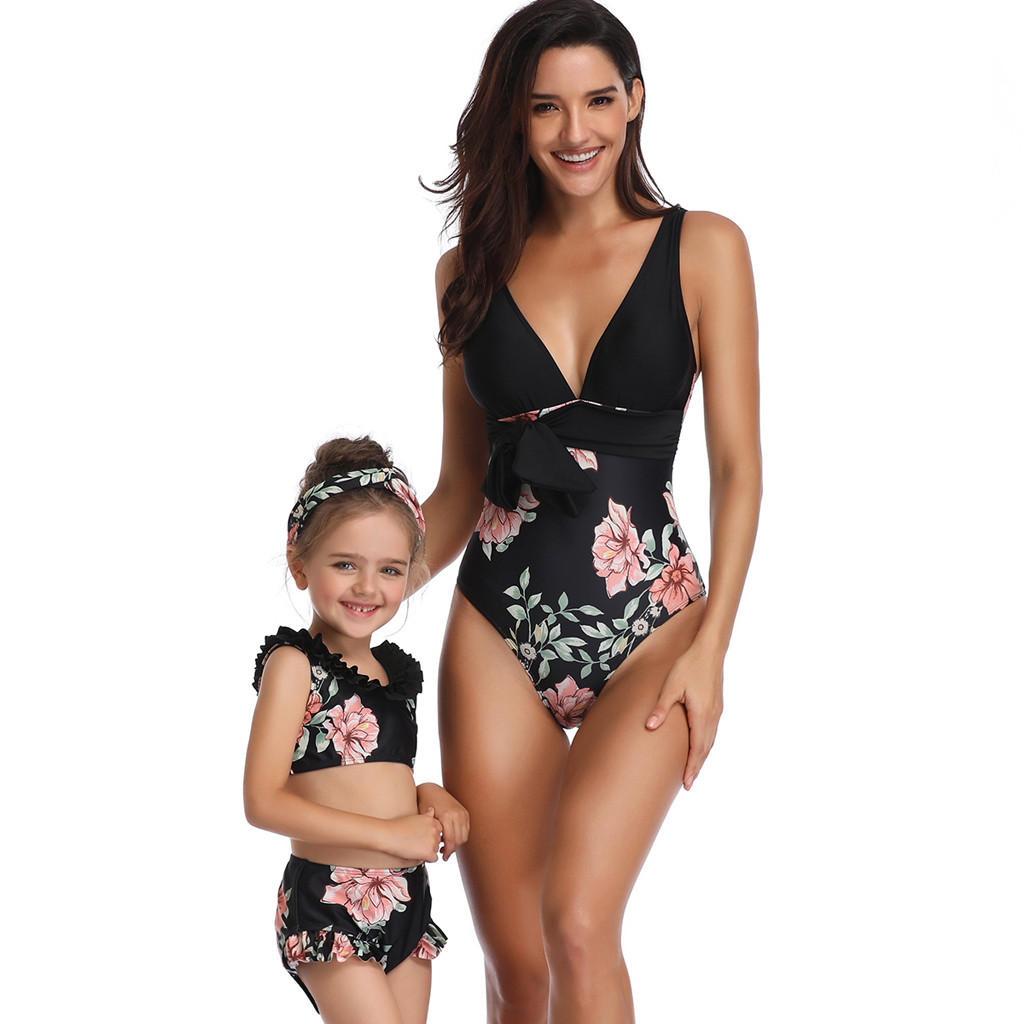Clothing - Mother And Daughter Swimsuit 2019 Black Floral
