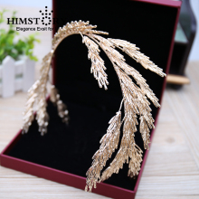 Baroque Crowns Gold Leaf Headband Hair Jewelry Wedding Accessories Princess Tiara Handmade Bridal Headpiece Headbands